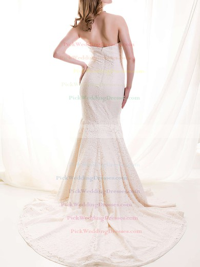 Classic Sweetheart Ivory Lace Draped Trumpet/Mermaid Wedding Dresses #PWD00020513