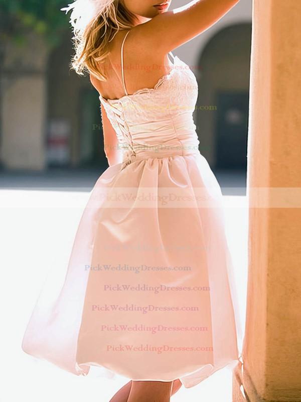 Sweetheart White Satin Lace Straps Summer Knee-length Wedding Dress #PWD00020514