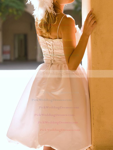 Sweetheart White Satin Lace Straps Summer Knee-length Wedding Dress #PWD00020514
