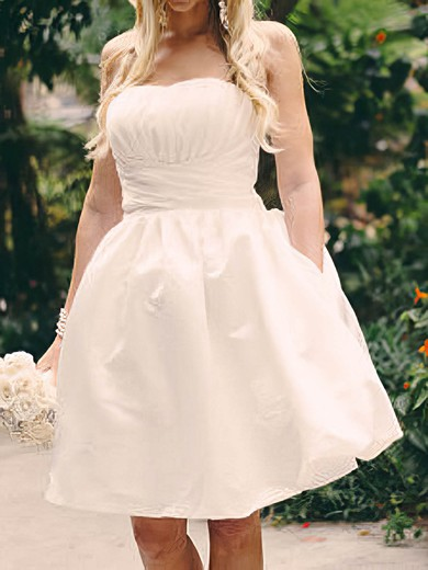 Cute Strapless White Satin Ruffles Knee-length Lace-up Ball Gown Wedding Dress #PWD00020516