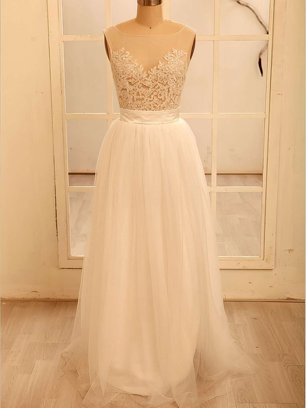 Tulle Scoop Neck Appliques Lace White Floor-length Classy Wedding Dresses #PWD00020518
