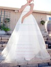 Sweetheart White Tulle Sashes / Ribbon Lace-up Sweep Train Wedding Dress #PWD00020519