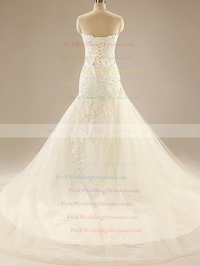 Ivory Tulle Appliques Lace Sweetheart Detachable Sashes/Ribbons Trumpet/Mermaid Wedding Dresses #PWD00020525