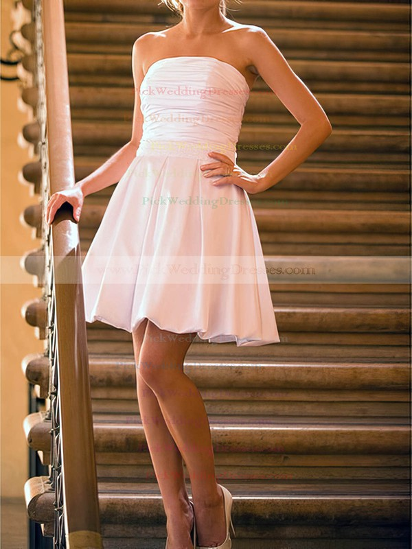 White Satin Strapless Pearl Detailing Lace-up Short/Mini Wedding Dresses #PWD00020530