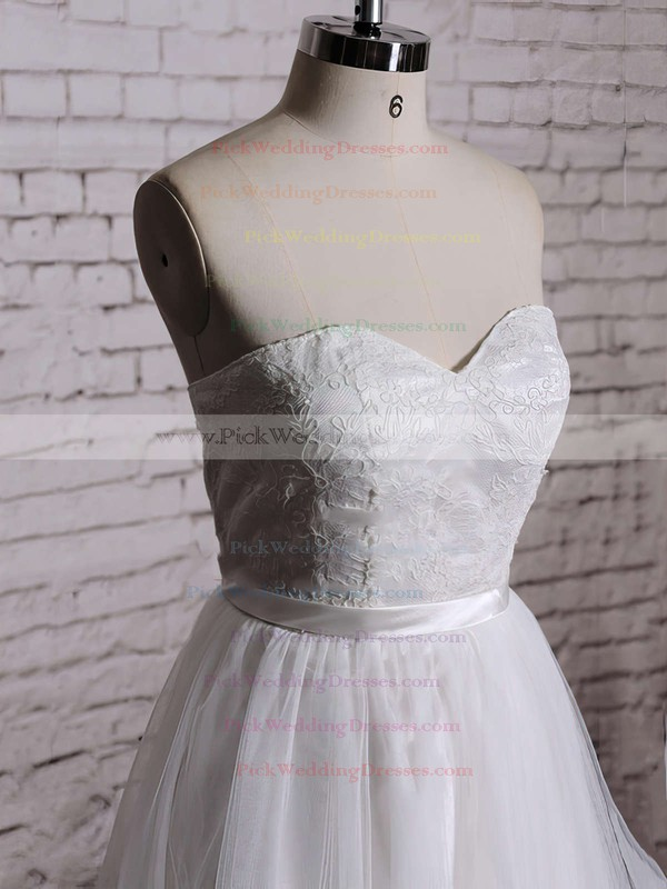 Nice White Lace Tulle Sweetheart Sashes / Ribbons Knee-length Wedding Dress #PWD00020533