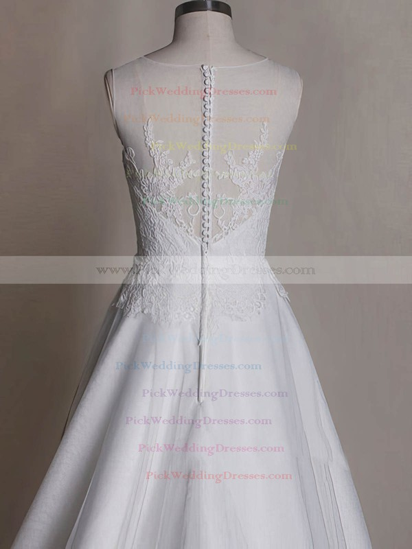Satin Tulle Scoop Neck Appliques Lace White Gorgeous Wedding Dress #PWD00020535