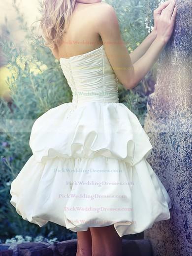Ball Gown Sweetheart Ivory Satin Pick-Ups Pretty Short/Mini Wedding Dresses #PWD00020538