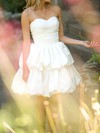 Ball Gown Sweetheart Ivory Satin Pick-Ups Pretty Short/Mini Wedding Dresses #PWD00020538