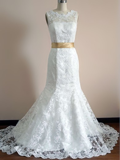 Nicest Scalloped Neck Ivory Lace with Sashes/Ribbons Trumpet/Mermaid Wedding Dress #PWD00020542