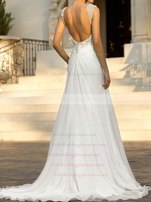 Beading Straps Chiffon Sweetheart White Open Back Elegant Wedding Dresses #PWD00020543