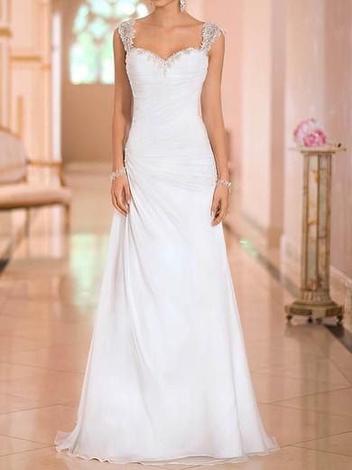 Beading Straps Chiffon Sweetheart White Open Back Elegant Wedding Dresses #PWD00020543