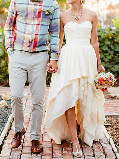 High Low Ivory Lace and Taffeta Sweetheart Tiered Asymmetrical Wedding Dresses #PWD00020544