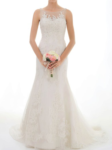 Stunning Trumpet/Mermaid Scoop Neck Ivory Lace Crystal Detailing Wedding Dresses #PWD00020547