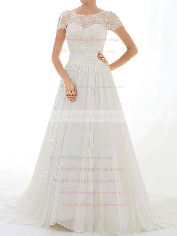 Nicest Scoop Neck Court Train Cap Straps Appliques Lace Chiffon Lace Wedding Dress #PWD00020548