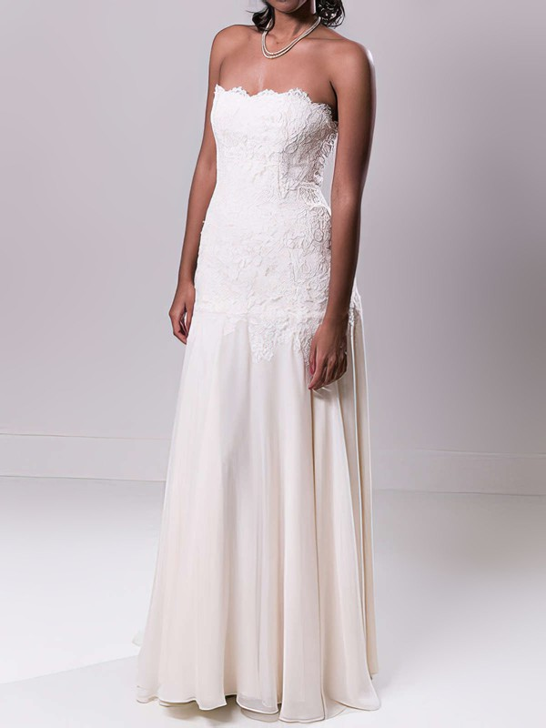 Sheath/Column Strapless Ivory Chiffon Appliques Lace Sweep Train Wedding Dress #PWD00020549