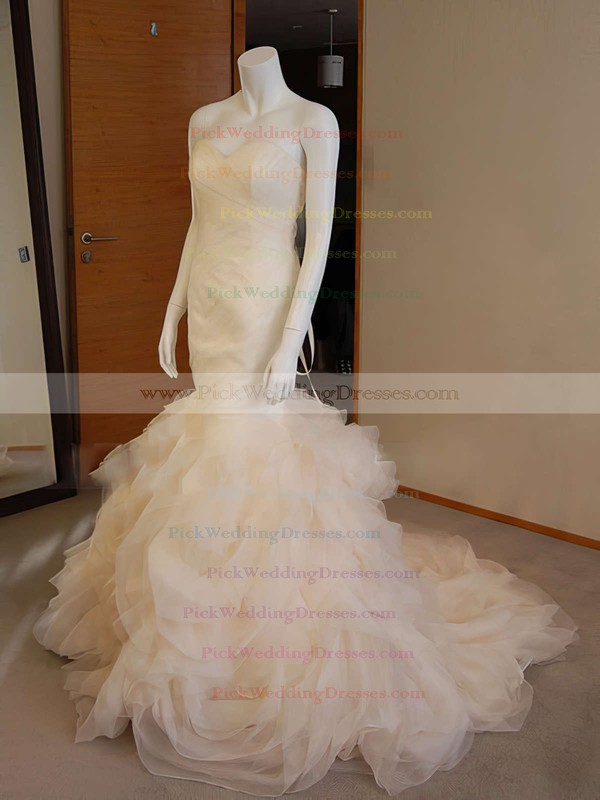 Unusual Trumpet/Mermaid Lace-up Organza Ruffles Sweetheart Wedding Dresses #PWD00020555