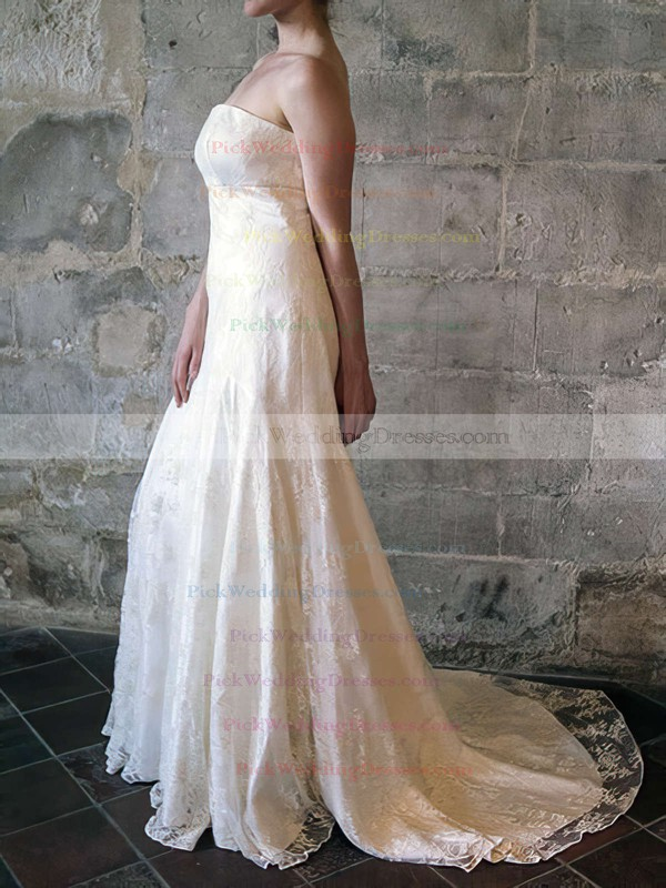 Trumpet/Mermaid Ivory Strapless Ruffles Lace Popular Wedding Dress #PWD00020556