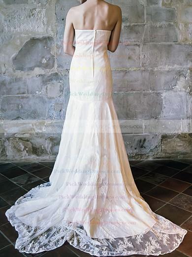 Trumpet/Mermaid Ivory Strapless Ruffles Lace Popular Wedding Dress #PWD00020556