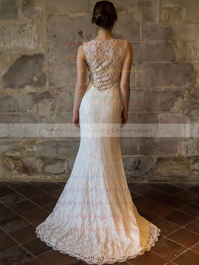 Inexpensive Ivory Lace Scoop Neck Ruffles Sheath/Column Wedding Dresses #PWD00020558