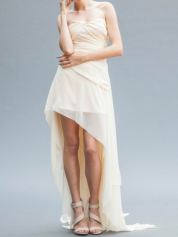 Latest High Low Ivory Ruffles Chiffon Strapless Asymmetrical Wedding Dresses #PWD00020559