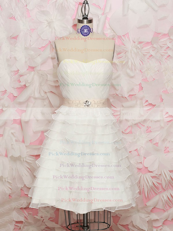 Sweet White Organza Tiered Sweetheart with Sashes/Ribbons Knee-length Wedding Dresses #PWD00020562