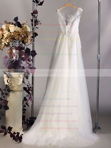 Scoop Neck Tulle Appliques Lace Court Train Amazing Ivory Wedding Dress #PWD00020564