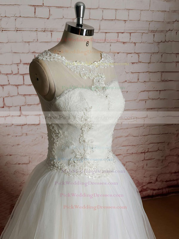 Ivory Tulle with Appliques Lace Scoop Neck Ball Gown Wedding Dress #PWD00020565