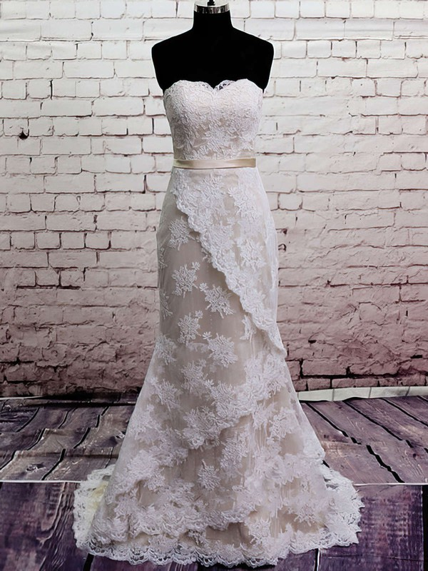 Perfect Sweetheart Lace Satin Sashes/Ribbons Trumpet/Mermaid Wedding Dress #PWD00020566