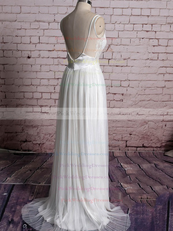 Sheath/Column Ivory Tulle V-neck Appliques Lace Open Back Wedding Dress #PWD00020567