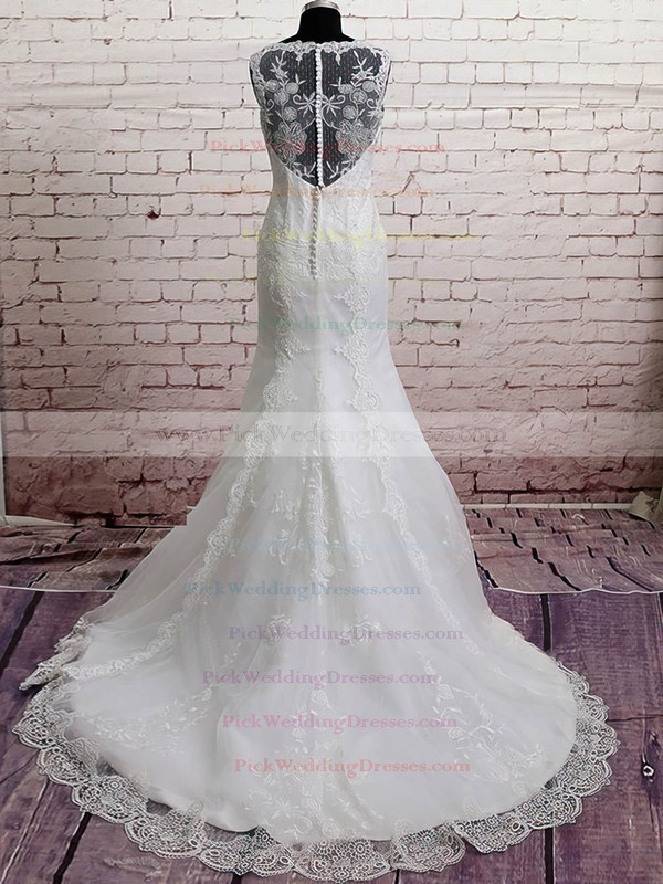 Newest White Scoop Neck Buttons Trumpet/Mermaid Lace Wedding Dress #PWD00020568