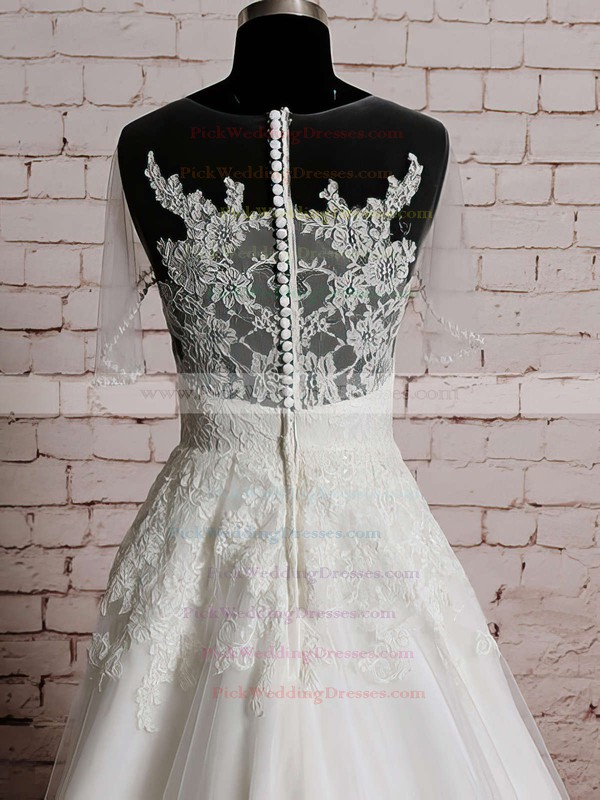 Ivory Tulle Satin Scoop Neck Appliques Lace Different Short Sleeve Wedding Dresses #PWD00020569