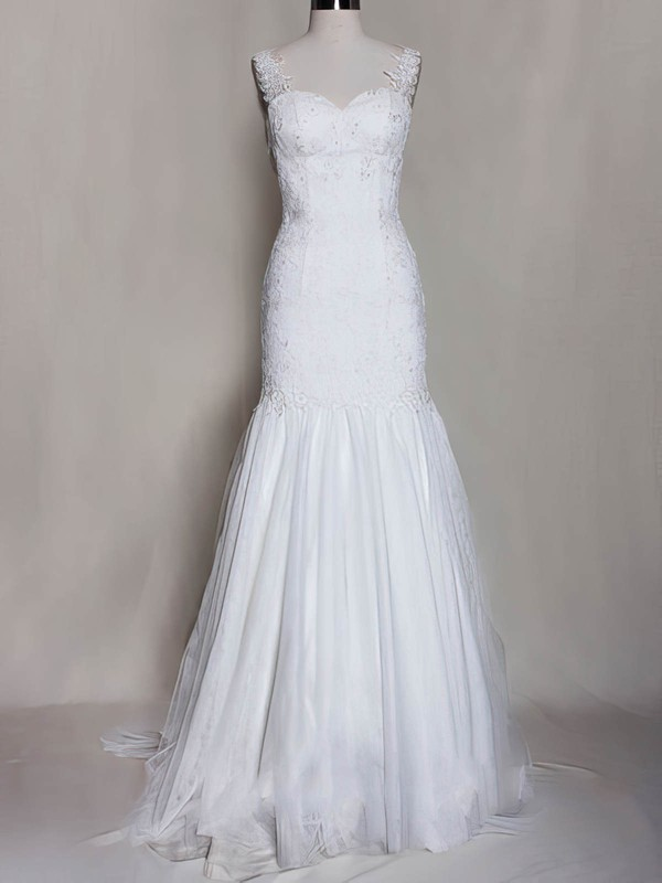 Sweetheart White Tulle Open Back Appliques Lace Straps Trumpet/Mermaid Wedding Dress #PWD00020571