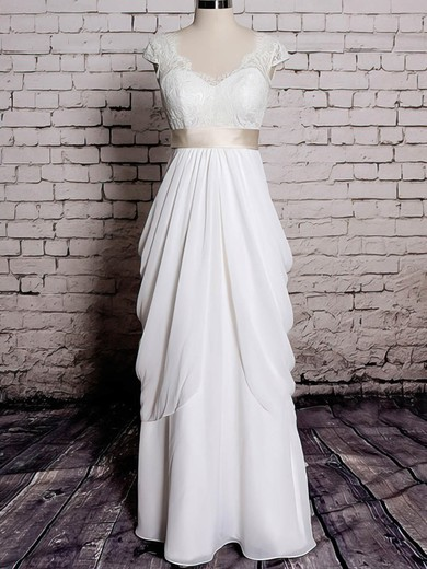 Sheath/Column Chiffon with Sashes/Ribbons Ivory Lace V-neck Wedding Dresses #PWD00020572