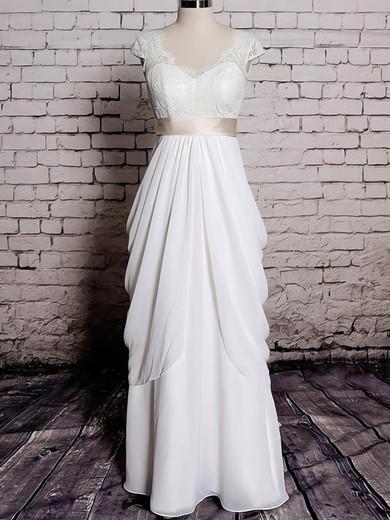 Sheath/Column Chiffon with Sashes/Ribbons Ivory Lace V-neck Wedding Dresses #PWD00020572