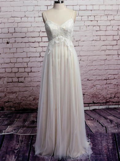 Spaghetti Straps Ivory Tulle V-neck Nice Appliques Lace Empire Wedding Dresses #PWD00020573