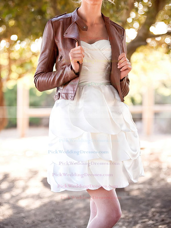 Cute Tiered White Satin Spaghetti Straps and Sweetheart Short/Mini Wedding Dress #PWD00020575