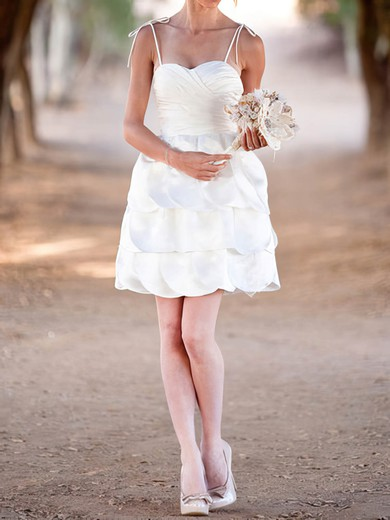 Cute Tiered White Satin Spaghetti Straps and Sweetheart Short/Mini Wedding Dress #PWD00020575