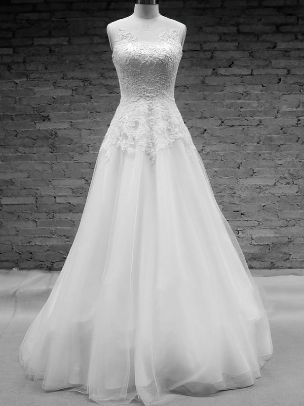 Scoop Neck White Tulle  Appliques Lace Covered Button Court Train Wedding Dress #PWD00020576