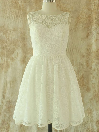 Lace Sashes / Ribbons Scoop Neck Covered Button Knee-length Wedding Dresses #PWD00020580