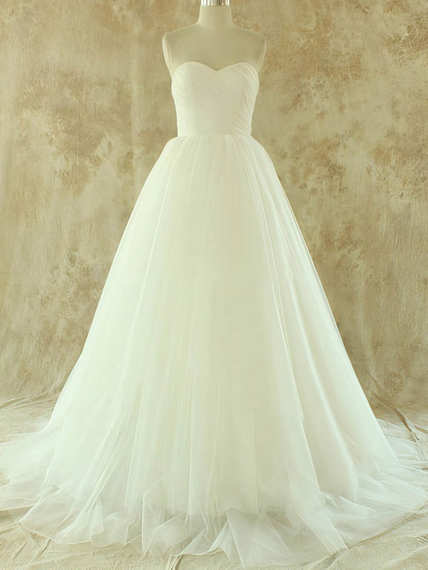 Simple White Tulle A-line Sweetheart Lace-up Court Train Wedding Dress #PWD00020581
