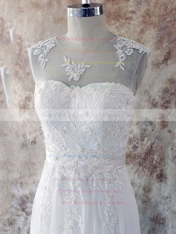 Sweep Train Scoop Neck Chiffon Appliques Lace Cheap Wedding Dresses #PWD00020582