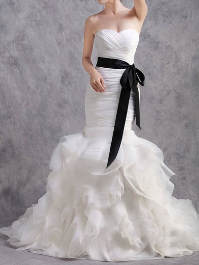 Trumpet/Mermaid Sweetheart Tiered White Organza with Black Sashes/Ribbons Unusual Wedding Dresses #PWD00020584