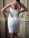 Cute Sheath/Column Sweetheart White Short/Mini Lace Wedding Dresses #PWD00020586