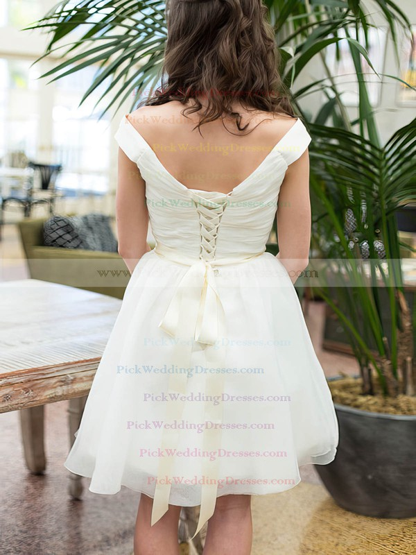 Boutique Knee-length Organza Sashes / Ribbons Lace-up Off-the-shoulder Wedding Dresses #PWD00020601