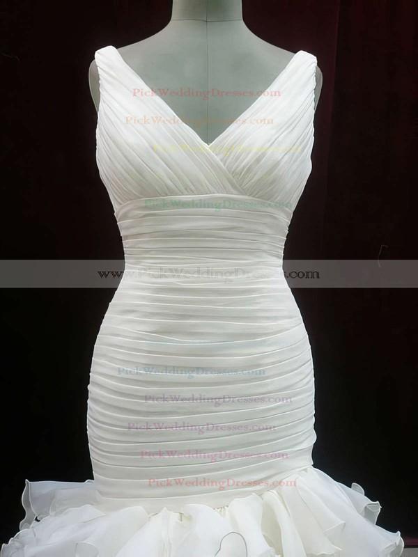 Ivory V-neck Trumpet/Mermaid Organza Perfect Tiered Wedding Dresses #PWD00020604