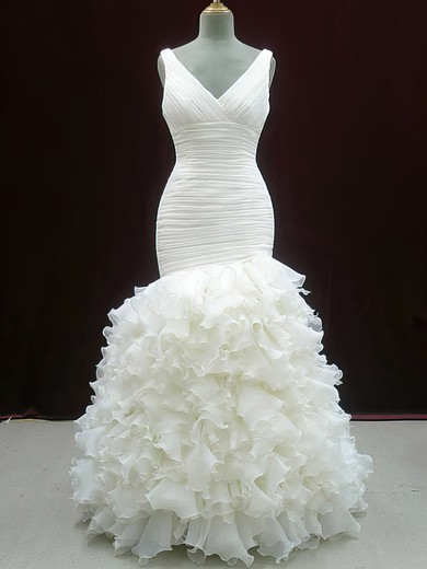 Ivory V-neck Trumpet/Mermaid Organza Perfect Tiered Wedding Dresses #PWD00020604