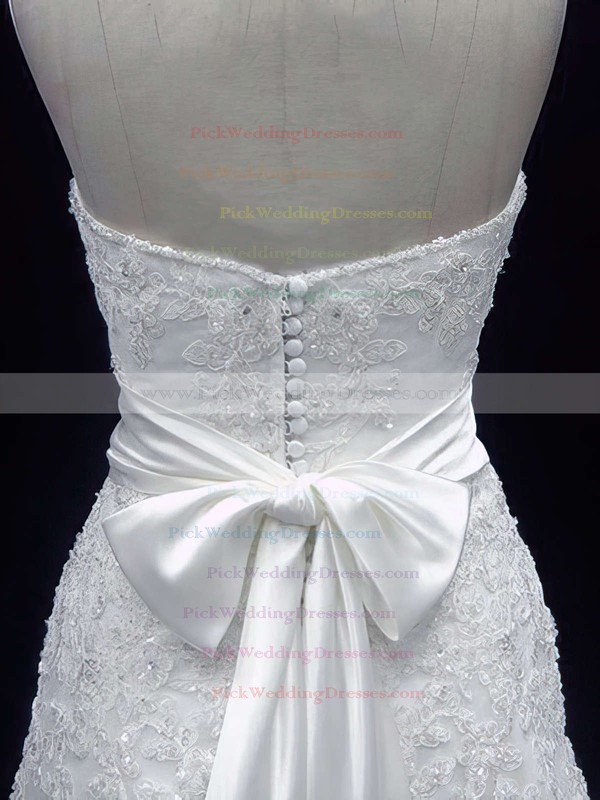 Popular A-line Ivory Lace Sashes / Ribbons Covered Button Sweetheart Wedding Dress #PWD00020606