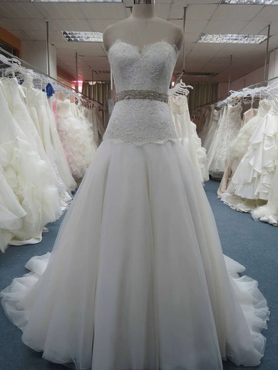 Princess Gorgeous Sweetheart Organza Beading and Appliques Lace Wedding Dresses #PWD00020607