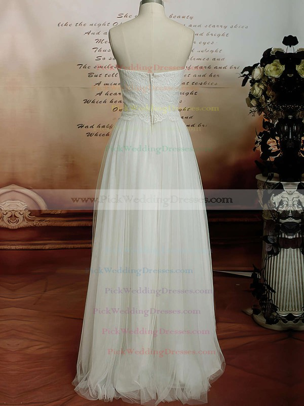 Floor-length Satin Tulle Sweetheart Lace Vintage Ivory Wedding Dresses #PWD00020608