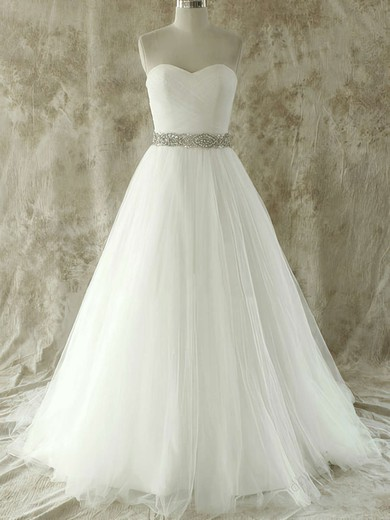 Unique Sweetheart Tulle Court Train Beading and Crystal Detailing Wedding Dress #PWD00020609